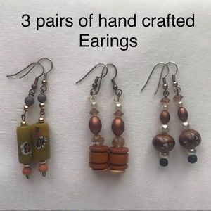 "3 Pairs of Earings, 2 1/2""-2 3/4"" long"